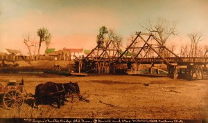 L.A. Huffman photo Logan's Rustic Bridge Miles City, circa 1880