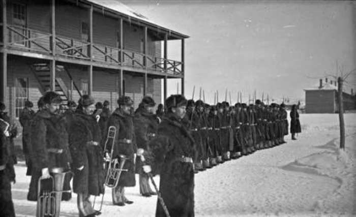 In 1876 Fort Keogh was established at the mouth of the Tongue River near present day Miles City, Montana [Band. Guard mount at Ft Keogh – in fur coats. January, 1882, PAc 981-361, Montana Historical Society Research Center Collection